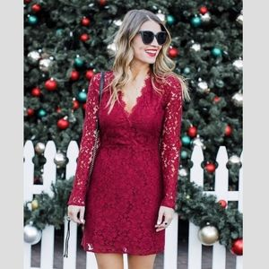 WAYF Dark red lace dress long sleeve